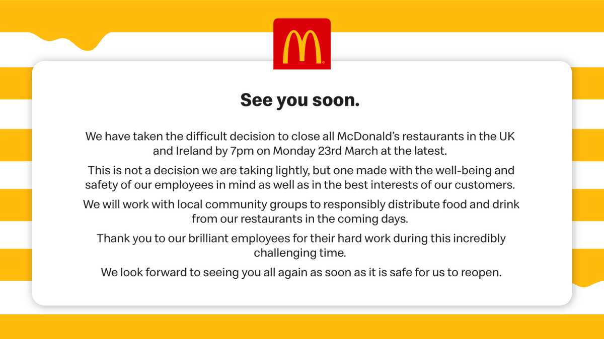 An update from McDonald's UK and Ireland — See you soon