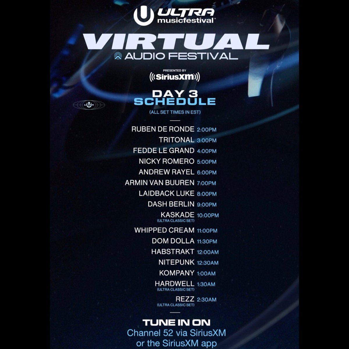 ULTRA Virtual Audio Festival set times for East coast 🇺🇸 and France 🇫🇷