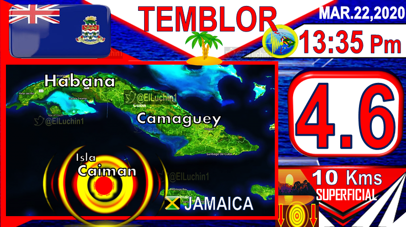 #Temblor 4.6 #GeorgeTown   59 Kms to the South East 13:35 PmAfternoon #Cayman Islands  22 March DEPTH 10 Kms  Islas Caiman #Caribe #Caribbean #Sunday #Sismo Sismo #Earthquake #FelizDomingo #COVIDー19pic.twitter.com/HLJkhBvruK