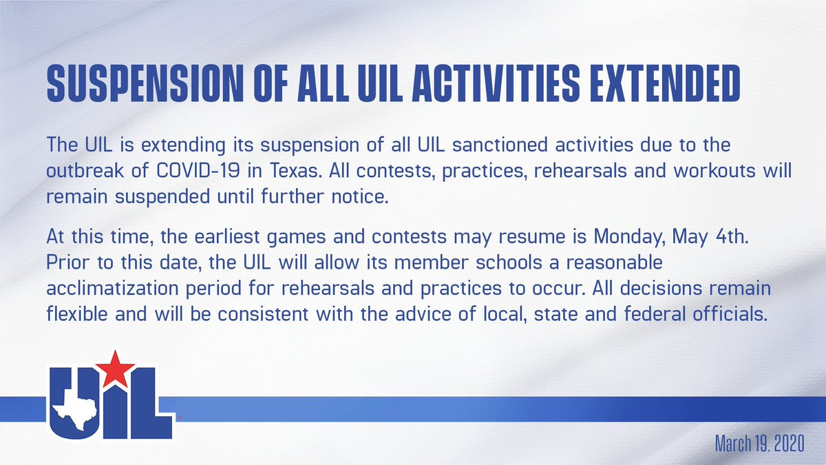 UIL Suspension of All UIL Activities