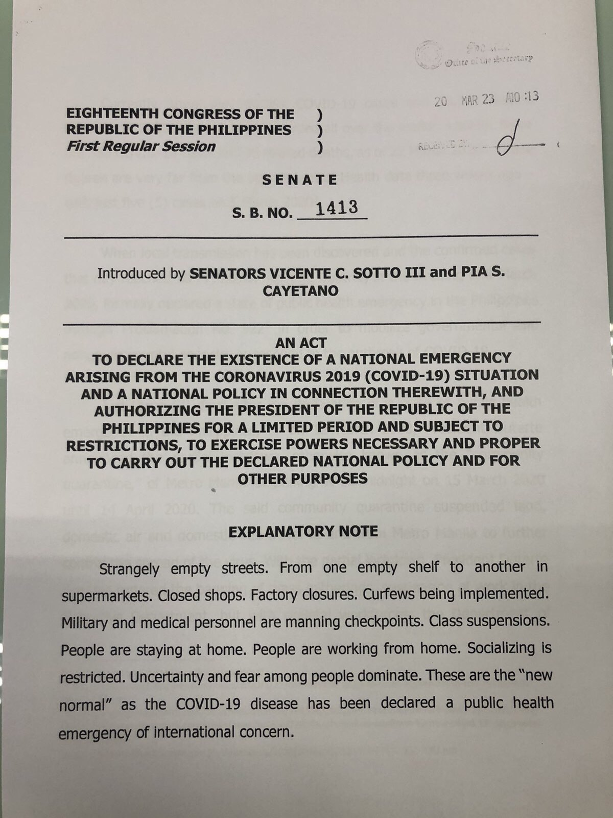 Inquirer On Twitter Read Explanatory Note Of Senate Bill No