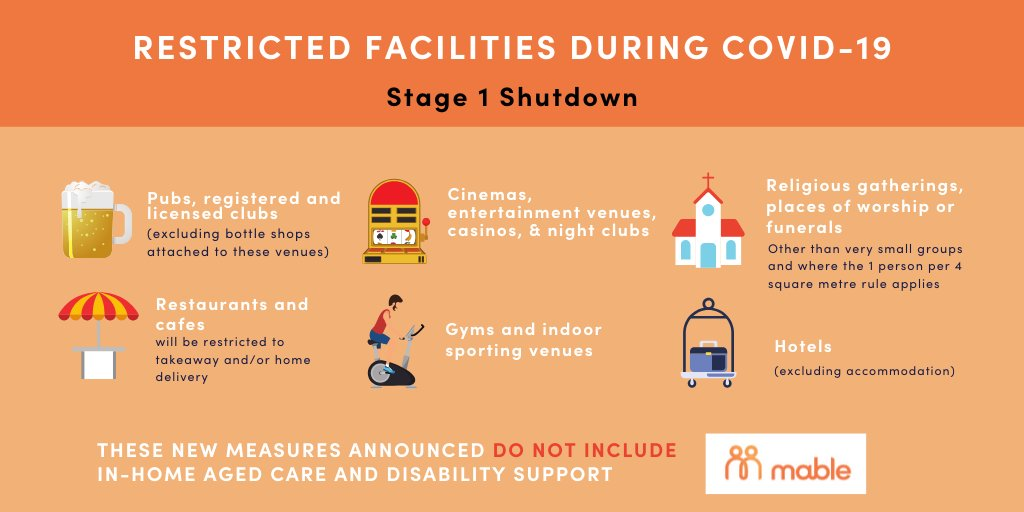 The #AustralianGovernment announced the following facilities will be restricted from opening from 12pm today. These new measures do not include in-home #agedcare and #disabilitysupport. Share and help update your friends and family. #Covid_19australia #COVIDー19 https://t.co/nrq938dI4s