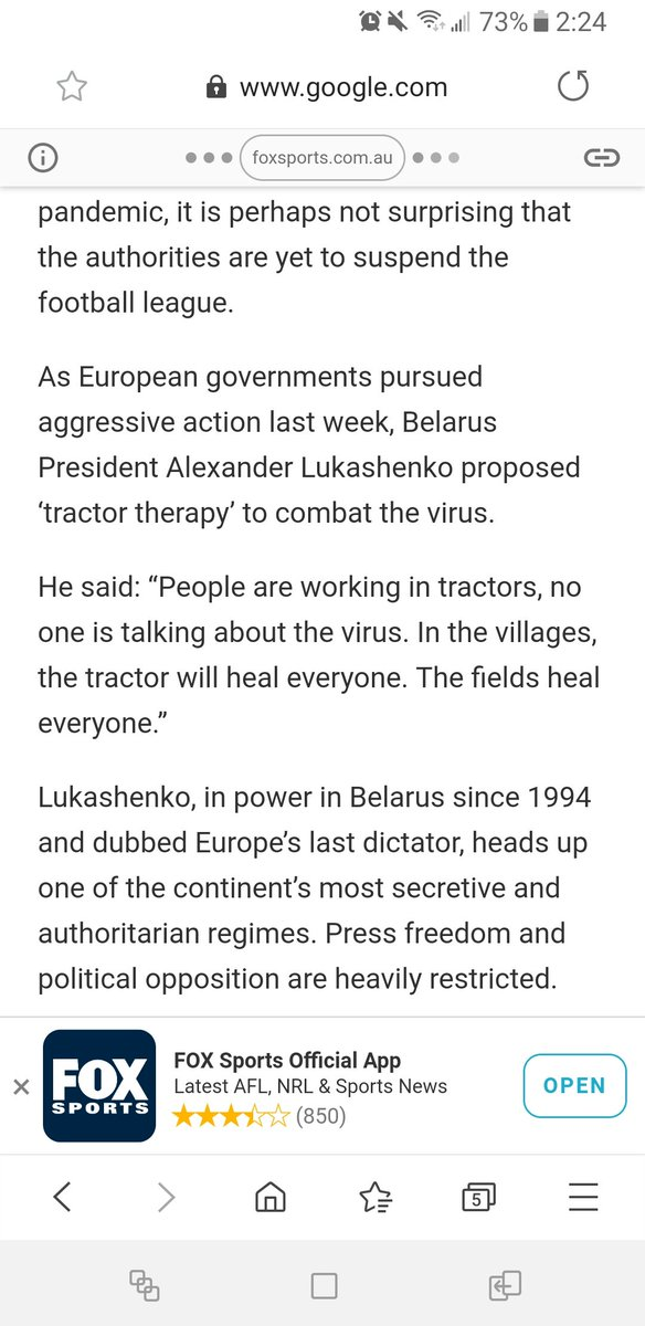 "Apparantly Belarus is instituting ""tractor therapy"" to help confront Corona. Very curious to see if it works https://t.co/7xN8TRAtAQ"