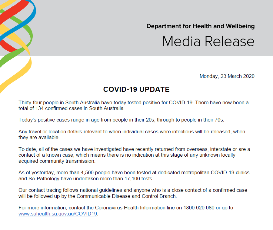 Sa Health On Twitter South Australian Covid 19 Update 23 3 20 For More Information On Covid 19 Contact The National Coronavirus Helpline On 1800 020 080 Or Go To Https T Co Mynzsgpayo Https T Co Ppvpkbzx0d