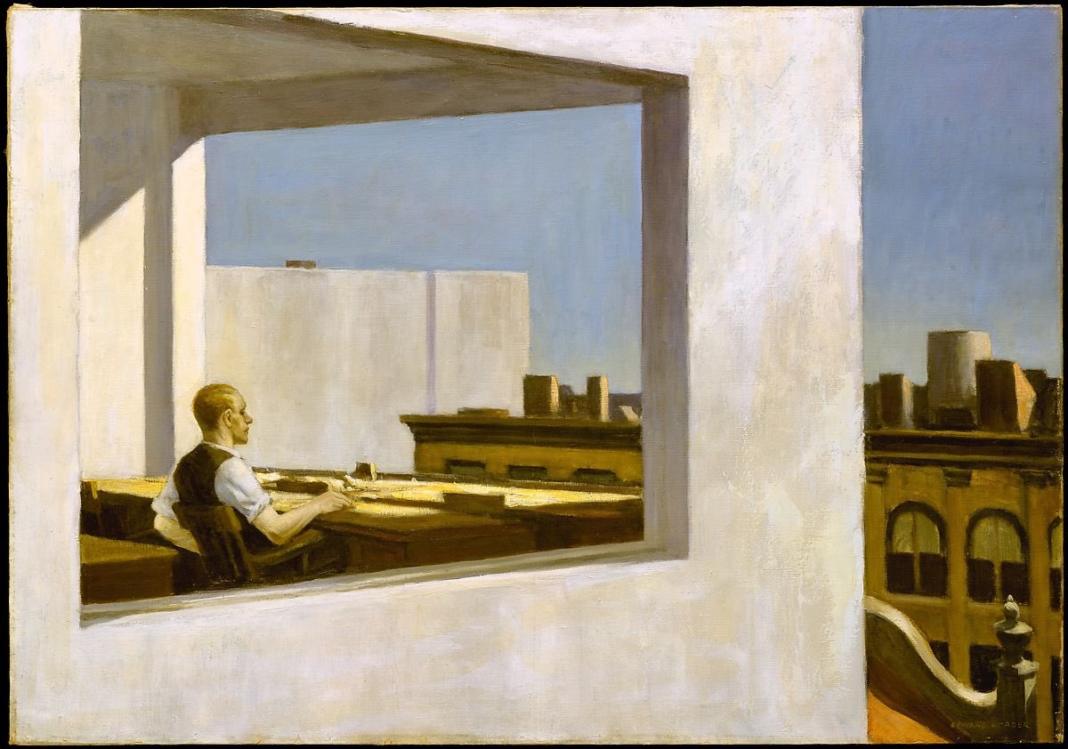 Art for remote working. Office in a Small City. 1953. Edward Hopper