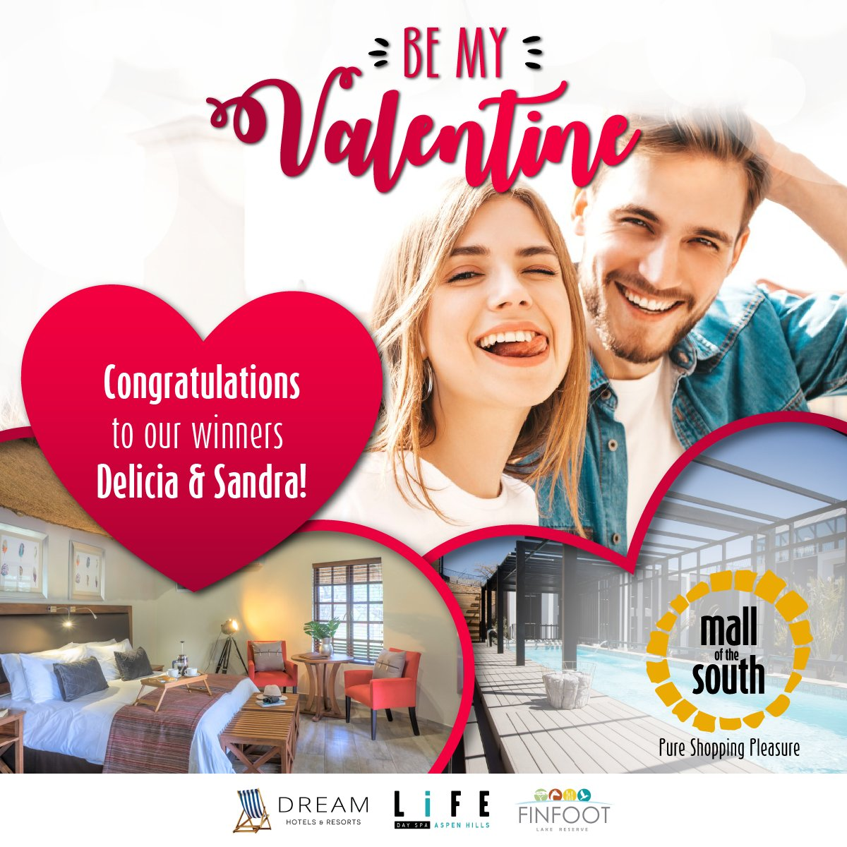 A BIG Mall of the South congratulations to our #BeMyValentine competition winners!   Delicia, has won a weekend getaway for two to @finfootlodge valued at R7760  Sandra, has won a @SpaAspen voucher where she can enjoy a pamper session for two valued at R7240pic.twitter.com/r4MtQjcxip