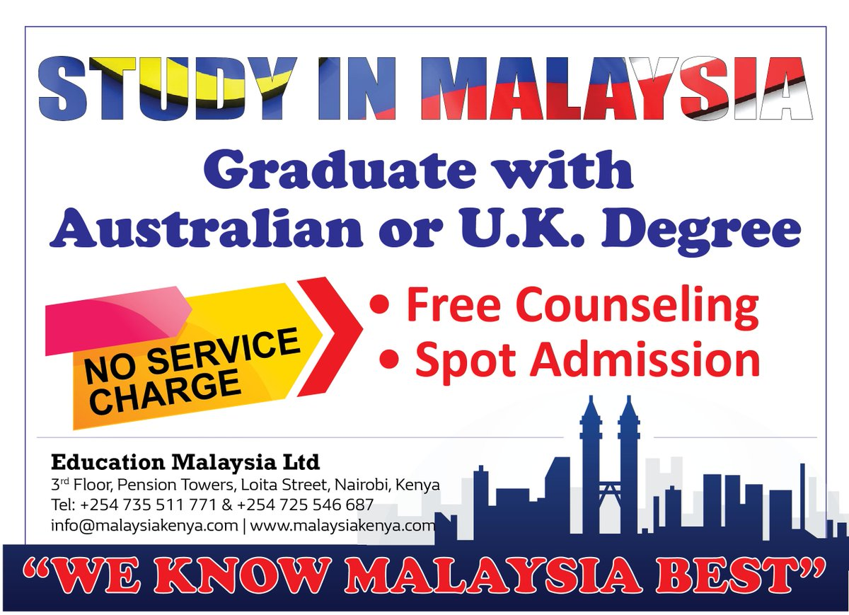 Do you know you can graduate with UK and Australia degree while paying Malaysia fee? Contact us today. +254 725 546687 /+254 735 511771 #StudyinMalaysia #WeknowMalaysiabestpic.twitter.com/cUQ93svFcq