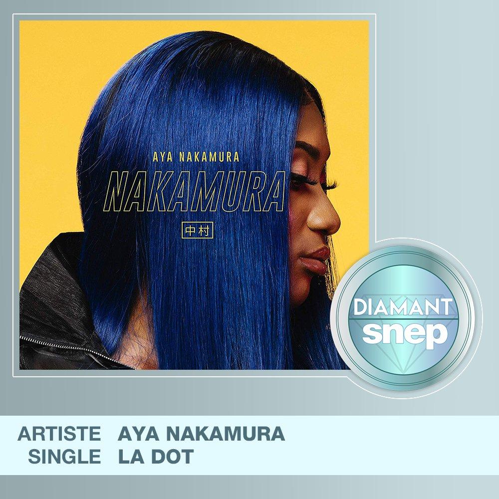 """Le titre """"La dot"""" d'Aya Nakamura est certifié Single Diamant ! 💎  50 000 000 équivalents streams 🎧  Bravo ! 👏 https://t.co/SVFqiQJWDM"""
