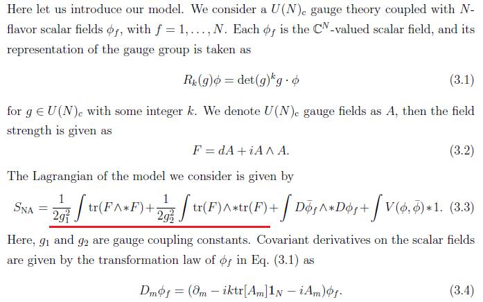 の(3.3)式の第1, 2項はそれぞれ、αTr(E∧*E)βTr(G∧*G)の形ですね。αTr(E∧*E) = αTr(G∧*G) + αTr(F∧*F)なので、(3.3)式の第1, 2項はγTr(G∧*G) + αTr(F∧*F)の形になると思います。