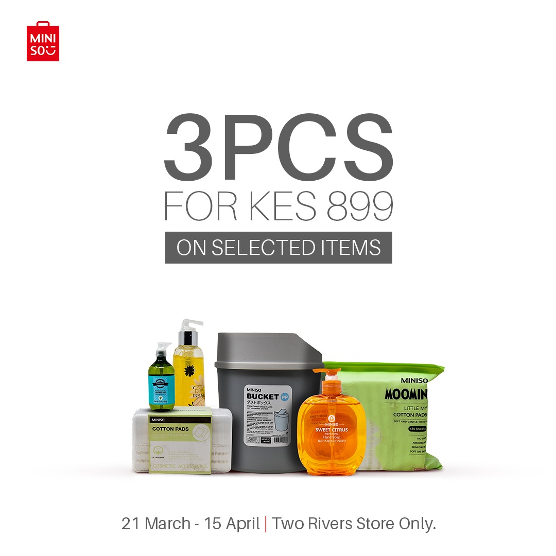 Miniso Kenya Near The Two Rivers Mall??? Take a peek at MINISO, We having a sale: #3_PRODUCTS_FOR_KSHS_899. The items are selected. #MinisoKenya #Lovelifeloveminiso.