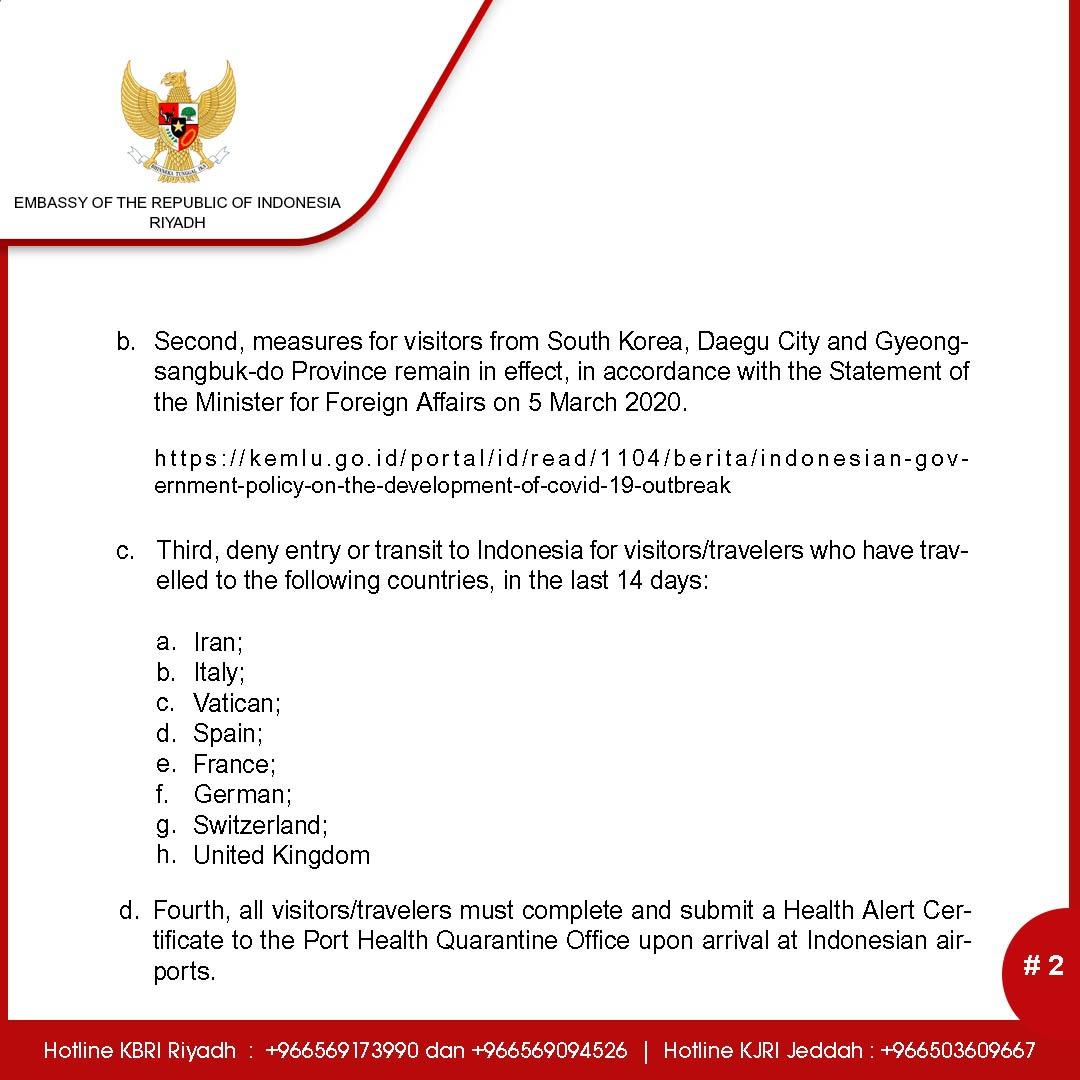 Kbri Riyadh On Twitter Temporary Indonesian Visa Policy From The Indonesian Government In Relation To Covid 19 Response Kemlu Ri Ksamofa Ksamofaen Ksaembassyid Https T Co Smtg3qtsvr