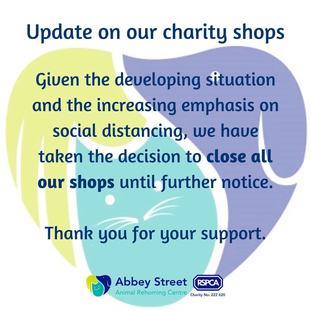 An update on our charity shops. Thank you for your continued support. #RSPCADerby #CommunitySpirit