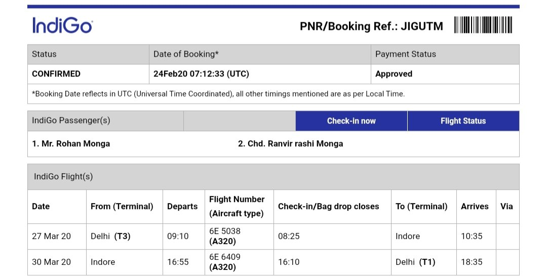 @IndiGo6E @EaseMyTrip  This is regarding my upcoming to trip to Indore, PNR Details: JIGUTM request you to kindly update on the cancellation policy as domestic travel has been suspended by the government