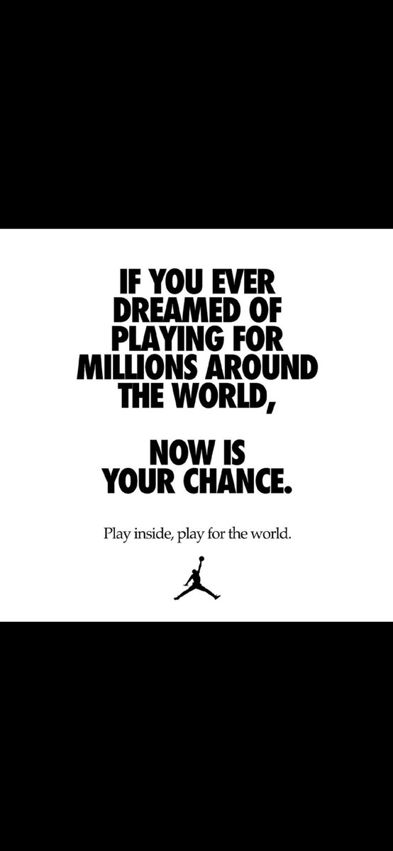 Now more than ever, we are one family. #JUMPMAN #PlayInside #PlayForTheWorld