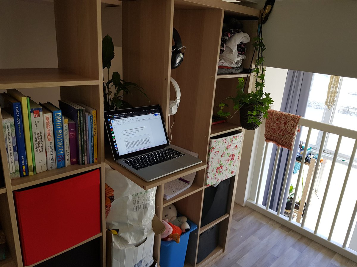 Our current #WorkFromHome setup, quickly rigged out from our 'previously a makeshift-closet'...