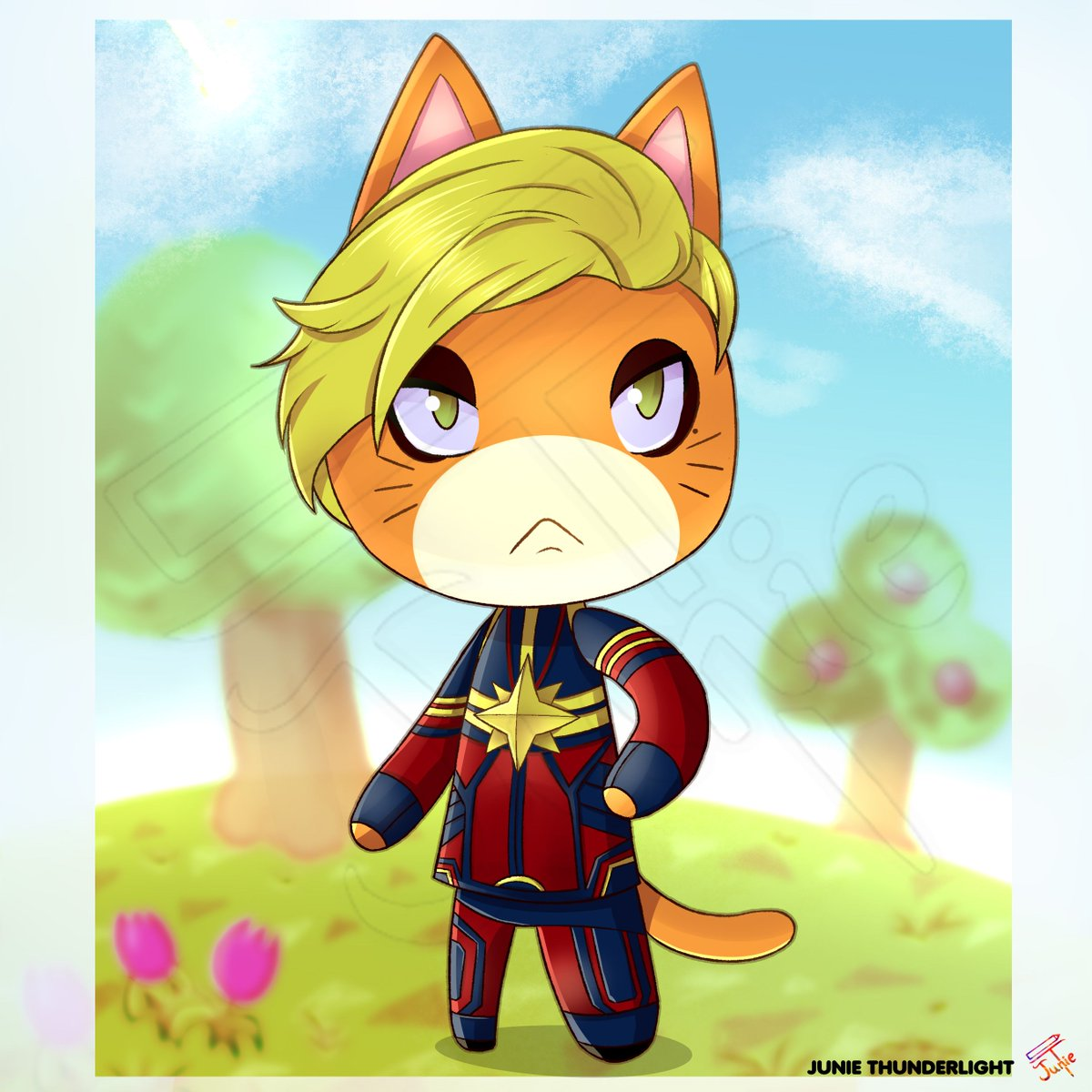 My partner suggested me to draw Captain Marvel in Animal Crossing style and look at the final result! I wanted Brie to be her favourite animal but, since I couldn't find it, I chose a cat (because we all love cats, right?).pic.twitter.com/K0JgyHOrc4