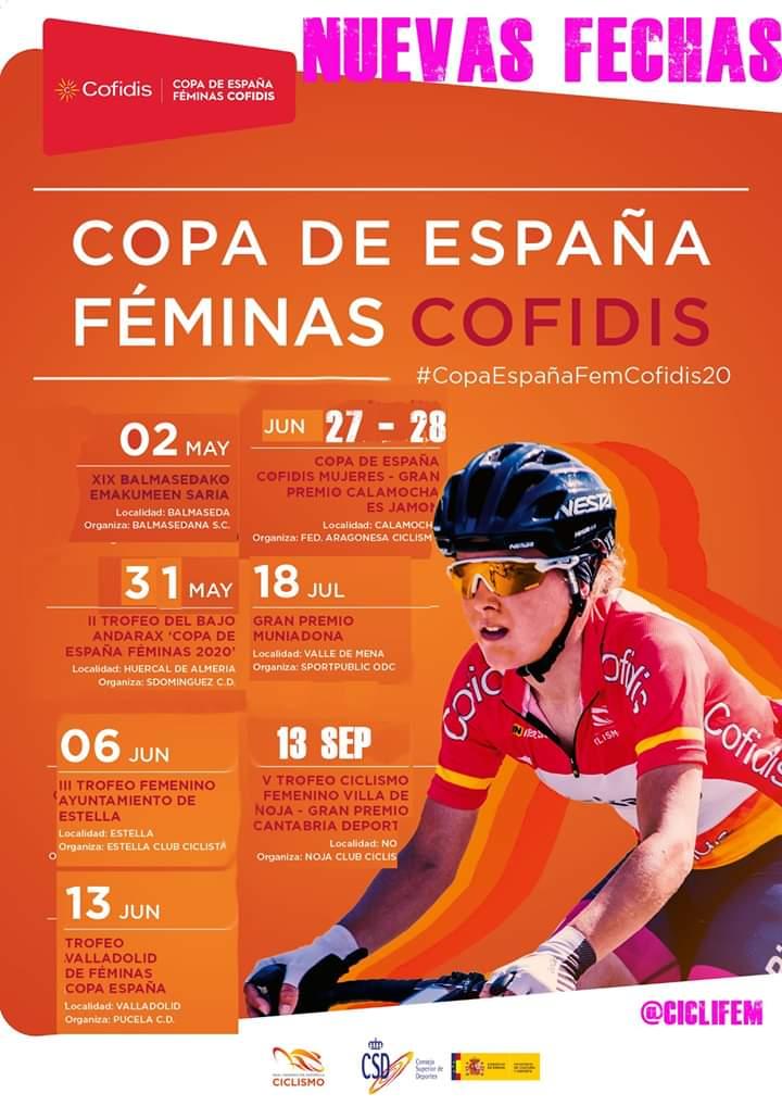 Tras la suspensión de las tres primeras pruebas de la #CopaEspañaFemCofidis20, se ha confeccionado un nuevo calendario. La primera prueba seria el 2 de may y la ultima el 13 sep. @RFECiclismo @ciclistacofidis  @FMCICLISMO  #CiclismoFemenino #CyclingWomen #WomenInBike #Ciclismopic.twitter.com/cJEkMm19Ea