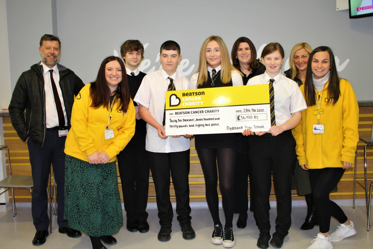 In these difficult times we're so grateful to our wonderful supporters 💛   A huge thanks to @clydebankhigh who raised a phenomenal £36,730.82 over the last few years in memory of teacher Dr Graham Simpson who underwent treatment at The Beatson 💛