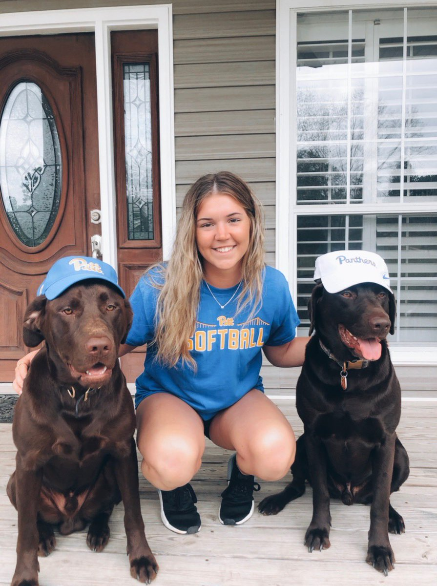 Freshman @kayla__lane with Axe and Cooper, repping their Pitt swag 🐶  #H2P | #NationalPuppyDay