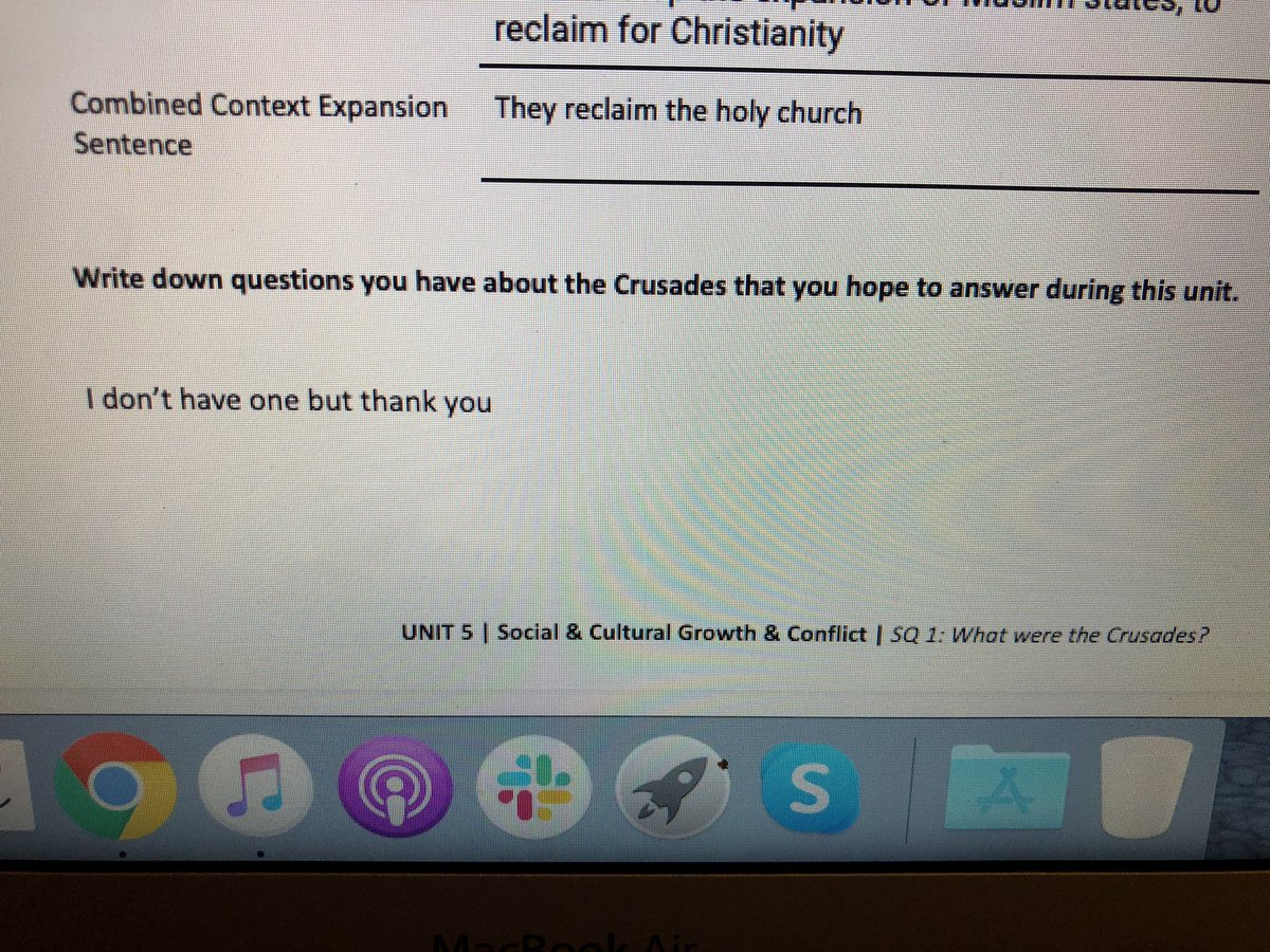 Here is how my niece answered a questions for her social studies assignment today.