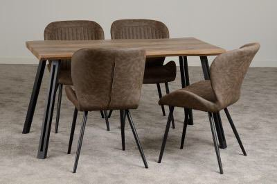 The Beautiful Quebec Range  Medium Oak Effect with Brown Faux Leather Chairs   Table available in Straight or Wave Edge €163 Pair of Chairs €150  Straight Edge Dining Set €445 Wave Edge Dining Set €450  Matching Coffee and Console Table availablepic.twitter.com/vdgGFErSXD
