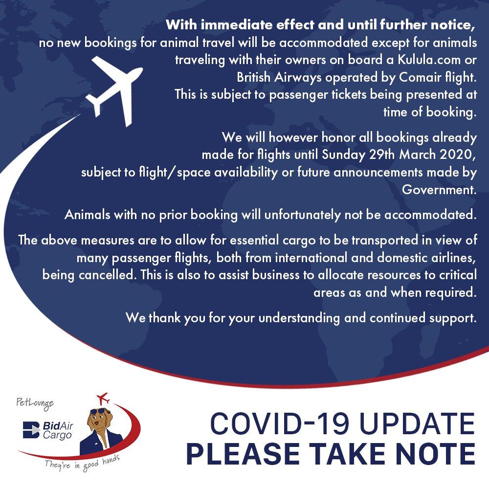 Dear Clients. Please take note of the following. #PetLounge #Notice #Covid19 #Important #PleaseTakeNote https://t.co/2sxerbgLZW