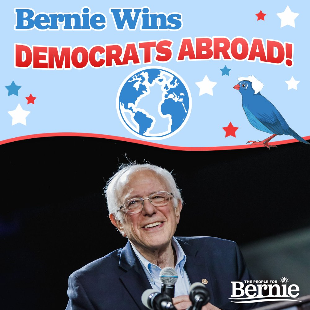 BREAKING: @BernieSanders is the projected winner of the Democrats Abroad primary!