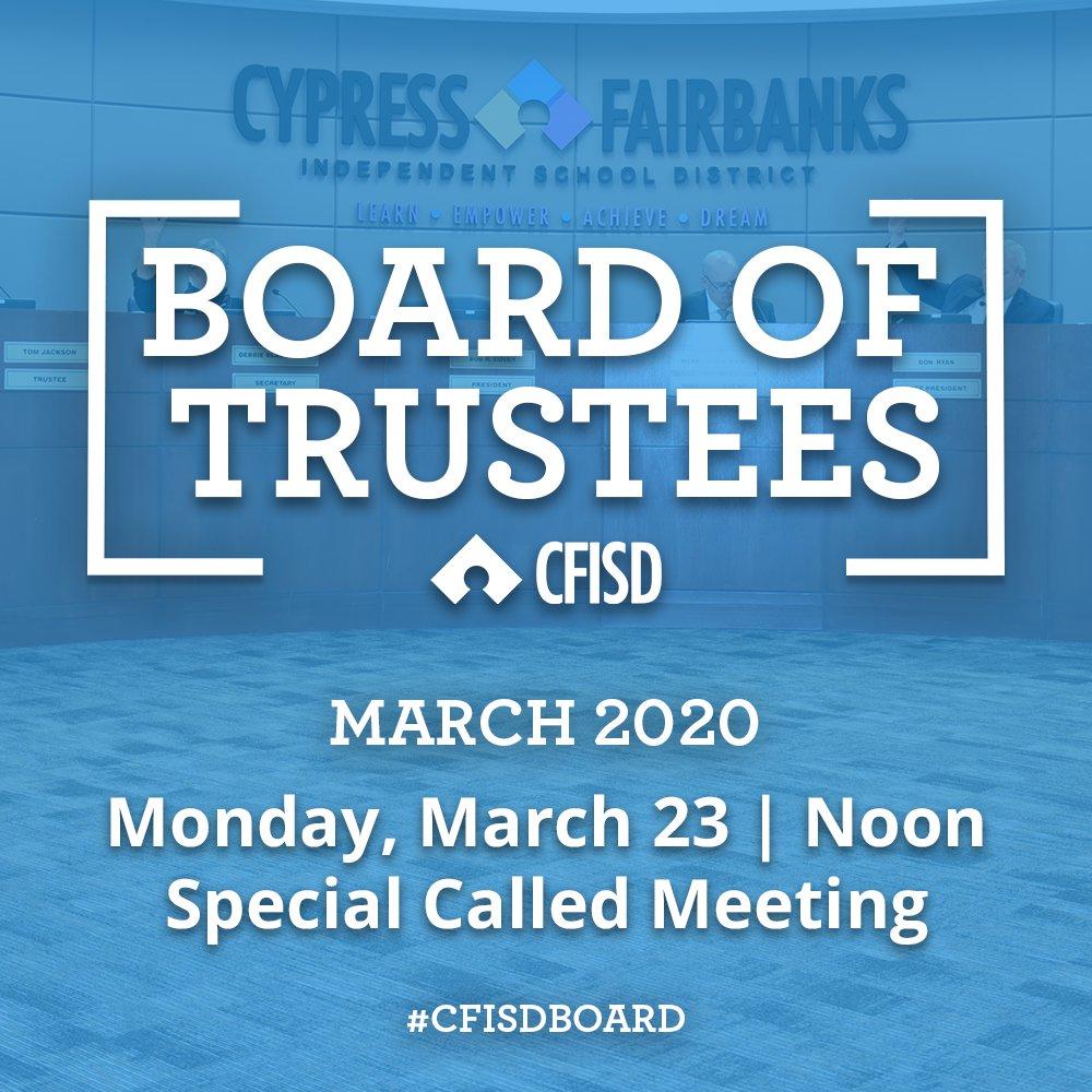 Stream today's special-called #CFISDBoard of Trustees meeting live starting at noon: cfisd.net/en/board-trust…