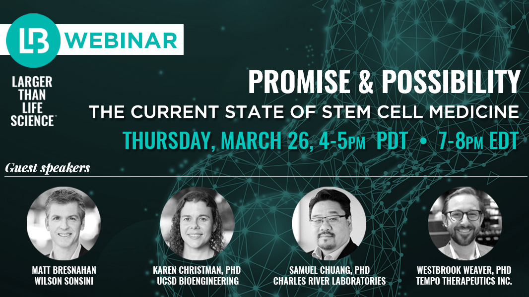 #StemCells hold the potential to cure a wide range of diseases. Discover which areas hold the most promise during our upcoming webinar on #regenerative medicine.  A special thank you to our #LaunchBio sponsors @wilsonsonsini and @CRiverLabs!   https://www.eventbrite.com/e/larger-than-life-science-thinking-ahead-tickets-97348440807 …