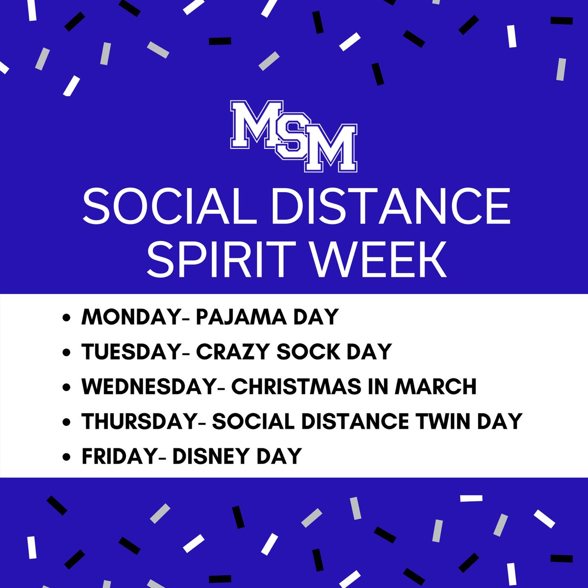 Let's have some fun! In true Rocket fashion, we are keeping the school pride and fun going... even if we can't be together! Tag @mountstmary in your daily posts on any/all social media platforms to participate! The staff will be voting on daily winners! Rocket Pride!! 🚀🎉