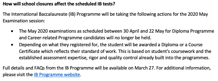 IB announced this morning the cancellation of May 2020 examinations. Check email for information. More details expected March 27,2020. <a target='_blank' href='http://twitter.com/WLHSPrincipal'>@WLHSPrincipal</a> <a target='_blank' href='http://twitter.com/APSVirginia'>@APSVirginia</a> <a target='_blank' href='http://twitter.com/GeneralsPride'>@GeneralsPride</a> <a target='_blank' href='https://t.co/7EVo0R7K4B'>https://t.co/7EVo0R7K4B</a>