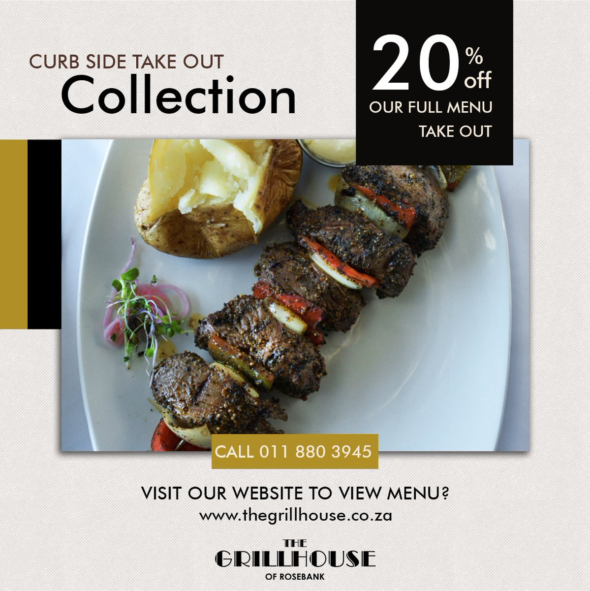 CURB SIDE COLLECTION. FOR THOSE WHO WANT TO TAKE THE GRILLHOUSE HOME! - FLATTEN THE CURVE. We are offering take out (with curb side collection) at a 20% discount!  Call 011 880 3945 to order your take out. Visit https://t.co/OnWUdcA4qR to view the menu! #covid19 #flattenthecurve https://t.co/oQKKQnTSID