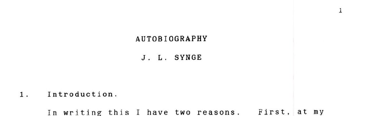 test Twitter Media - #OTD in 1897, John L Synge was born. He was a Senior Professor in DIAS from 1948-72, then Emeritus Professor until his passing on 30 March 1995.   To celebrate this #SyngeWeek we will post daily excerpts from his typed autobiography.   His life in his own words  #DIASdiscovers https://t.co/JUOOw1H76Q