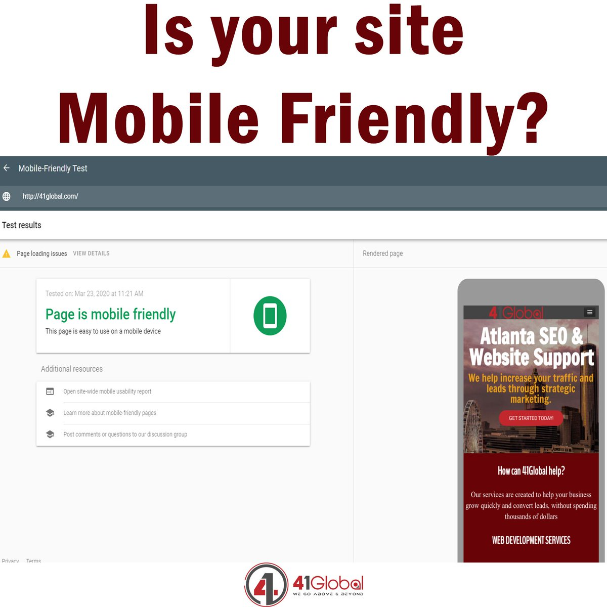 Make sure your site is mobile friendly and ready for visits from mobile devices.  Google has a totally free tool that allows you to confirm - https://t.co/7JBjg44cu5  #41Global #marketing #webdevelopmentcompany #webdesign #mobilefriendly #webdevelopment #responsivedesign https://t.co/jrVgXzST2D