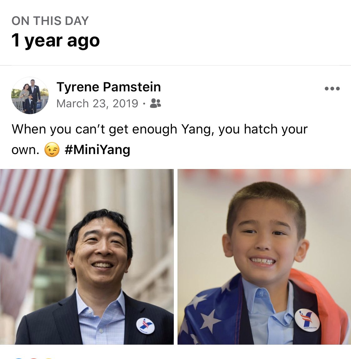 #YangMemory — Anniversary of #MiniYang. 😄 He hadn't met Yang yet but we had watched a lot of videos and read every article that came out — which was only about once a month at that point. He's come a LONG way and is needed now more than ever. #YangGang https://t.co/rNAHbcKtzR
