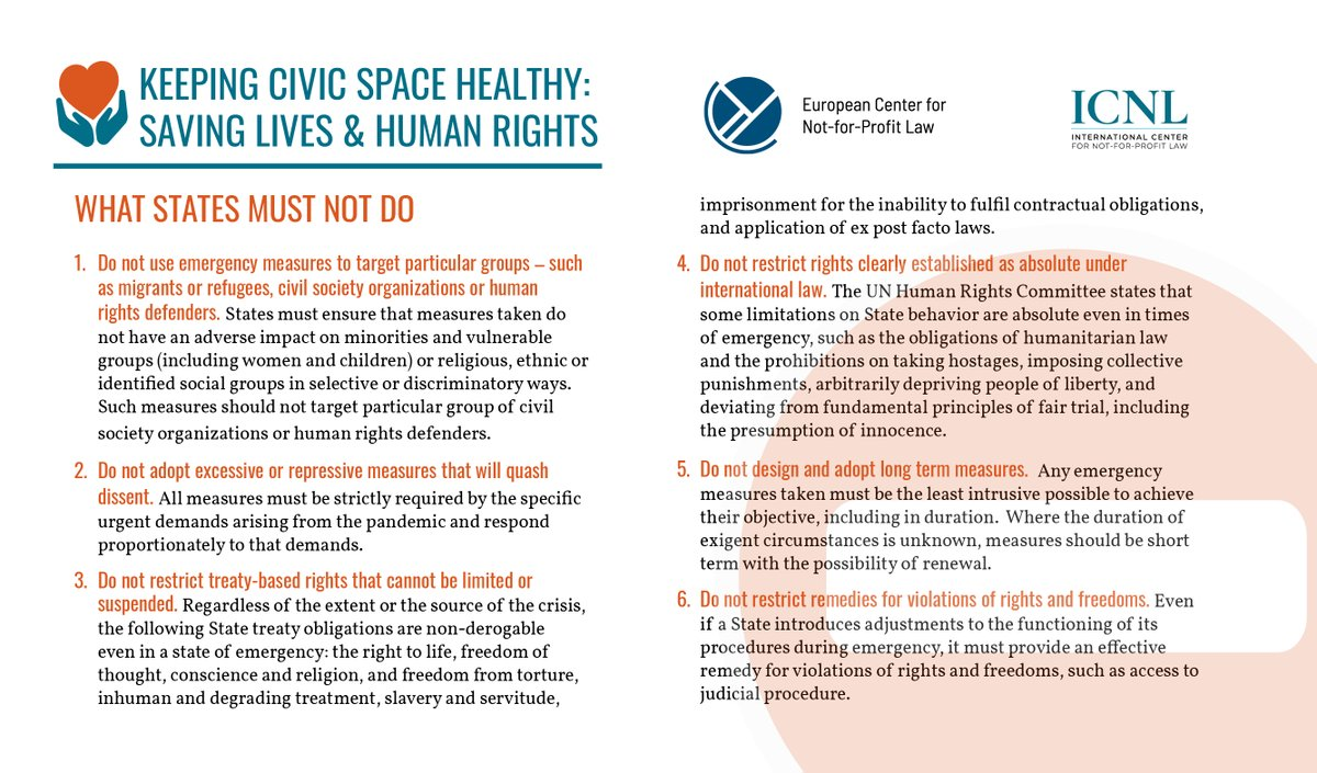 ECNL & @ICNLAlliance released a joint statement detailing how states can protect their citizens from #COVID19 without infringing on the rights of civil society. Read more here: #keepcivicspacehealthy