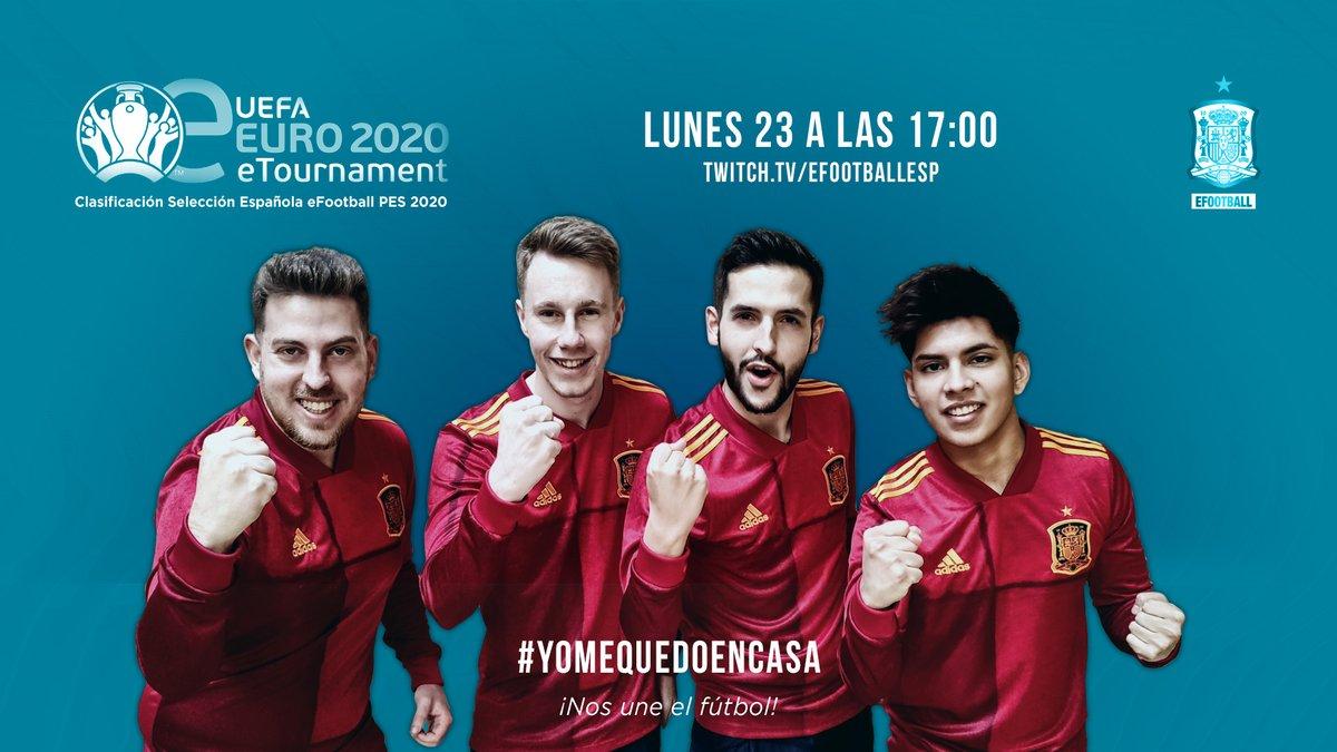 Sigue en directo la jornada de clasificación para la #eEURO2020 de la selección española #eFootballPES2020  @SeFutbol 🇪🇸 ¡VAMOS EQUIPO! #YoMeQuedoEnCasa  🖥 http://twitch.tv/efootballesp
