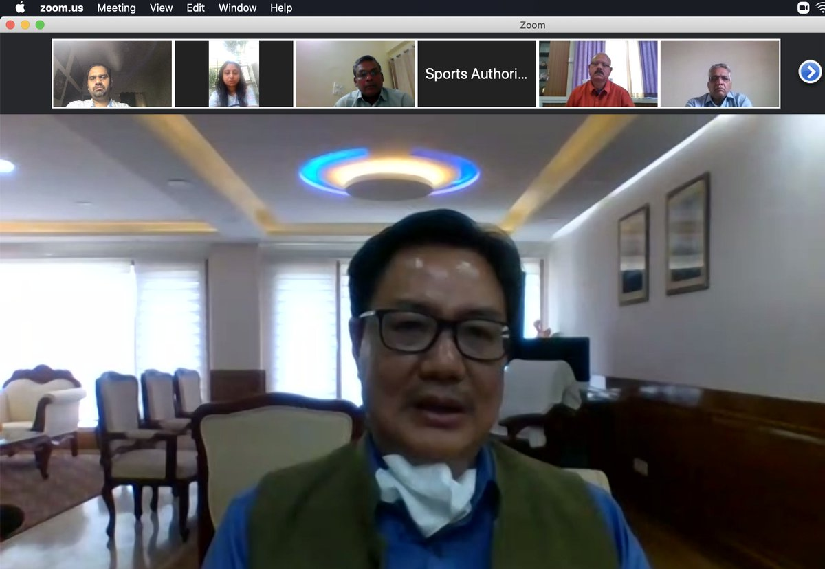 In th video conference with all regional directors of SAI to review arrangements for athletes @KirenRijiju congratulates atheletes for following strict discipline and the rules of the lockdown. Athletes staying at SAI camps have ensured they maintain social distancing and stay inpic.twitter.com/Opq7YOLsld