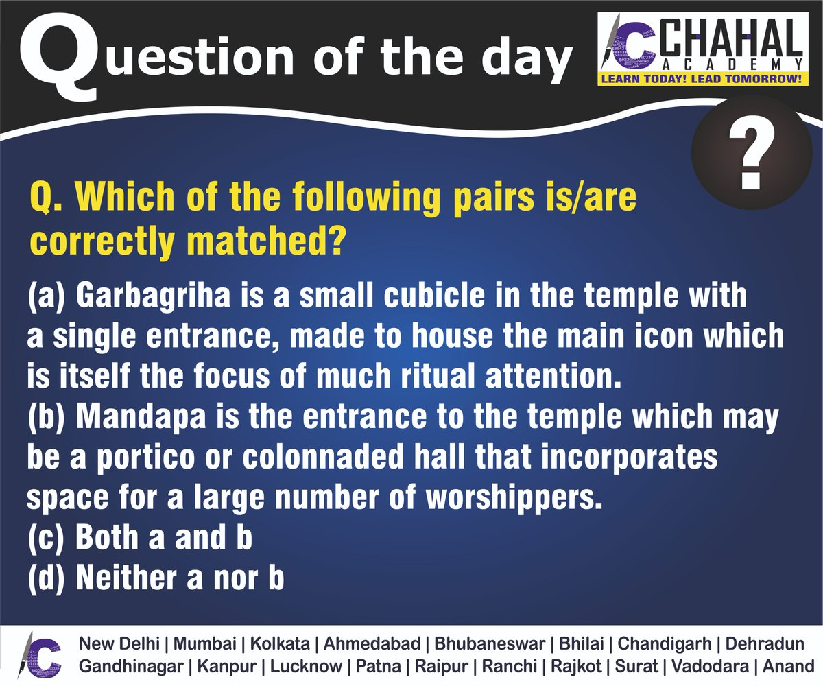 Question of the Day  Answer - C  #7thApril2020 #Questionoftheday #UPSC2020 #IPS #IBPS #governmentexam #Currentaffairs #iasquestion #UPSCQuestion2020 #dailyquiz #coachinginstitute #iascoachingcenter #IASquestions #civilserviceexam  Visit:- http://chahalacademy.compic.twitter.com/qeeJG5TLPC