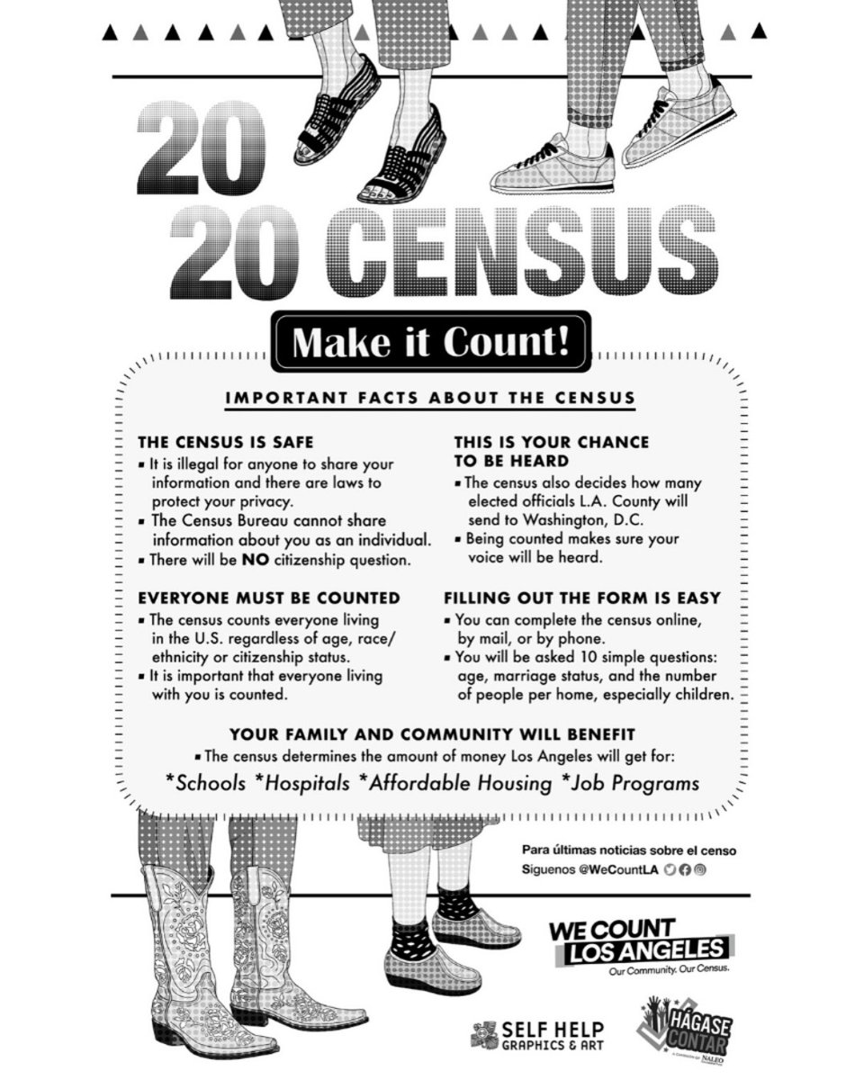 Have you seen our #census poster yet? Download the poster w/in bio. Print it out and put it up in your home/office. Use the hashtag #MakeitCount #HazteContar when you share. To fill out your census form now, go to http://my2020census.gov or get info at http://WeCountLA.org.pic.twitter.com/j2fPsrwyzC