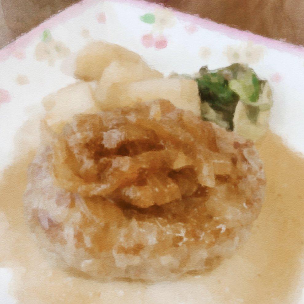 和風ハンバーグ作ったよ😊お砂糖切らしちゃった代わりに生姜蜂蜜を入れたら大成功✨とろみのある甘塩っぱいソース最高!!