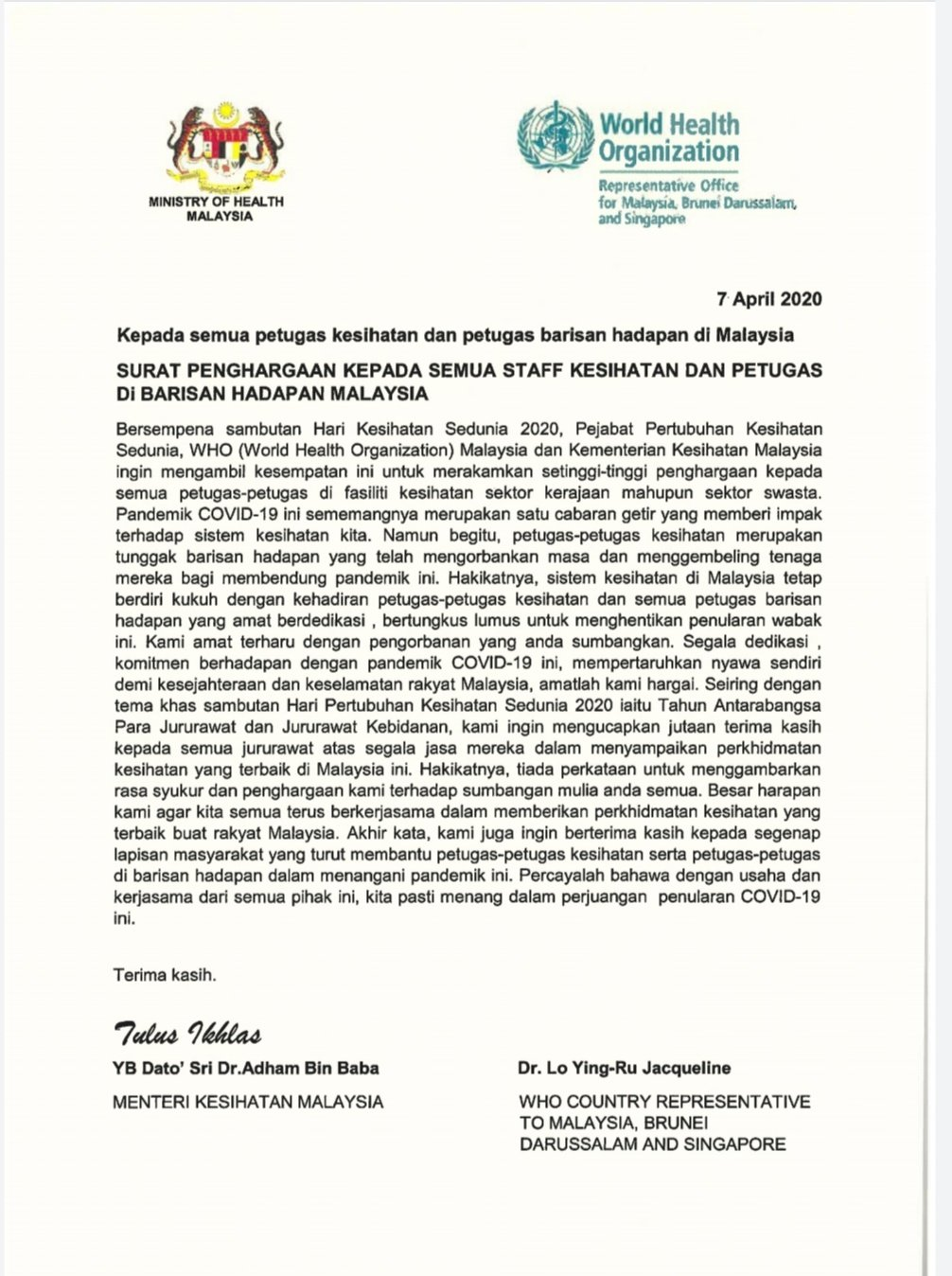 Kkmalaysia On Twitter Surat Penghargaan Kepada Semua Kakitangan Kesihatan Dan Petugas Di Barisan Hadapan Malaysia Sempena Hari Kesihatan Sedunia 2020 Appreciation Letter To Our Healthcare Workers And Other Frontline In Malaysia Muhyiddinyassin