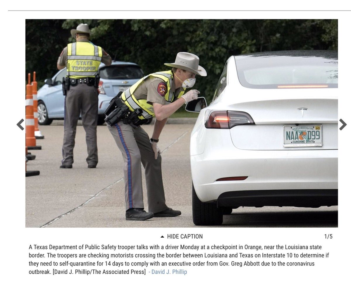 Prime example of false security of a mask. This TX state trooper might have an N95—can't tell—so nose & mouth maybe protected. But his eyes aren't & gloved hand on his leg is problem. He shld NOT be that close to driver. We have more evidence for #socialdistancing than #Masks4All