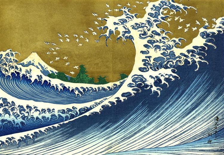 Hokusai Katsushika - A colored version of the Big wave    #japan #japaneseart #hokusai #ukiyoe #浮世絵 #日本美術 #北斎pic.twitter.com/lPF3IsmPmy