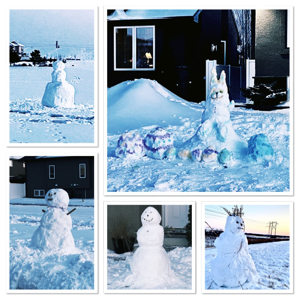 Meeting all the new snow creatures on my neighbours' lawns was the high point of tonight's evening walk #yxe #stonebridge #winter #somuchwinter #somuchsnow pic.twitter.com/GKoikRrlDr