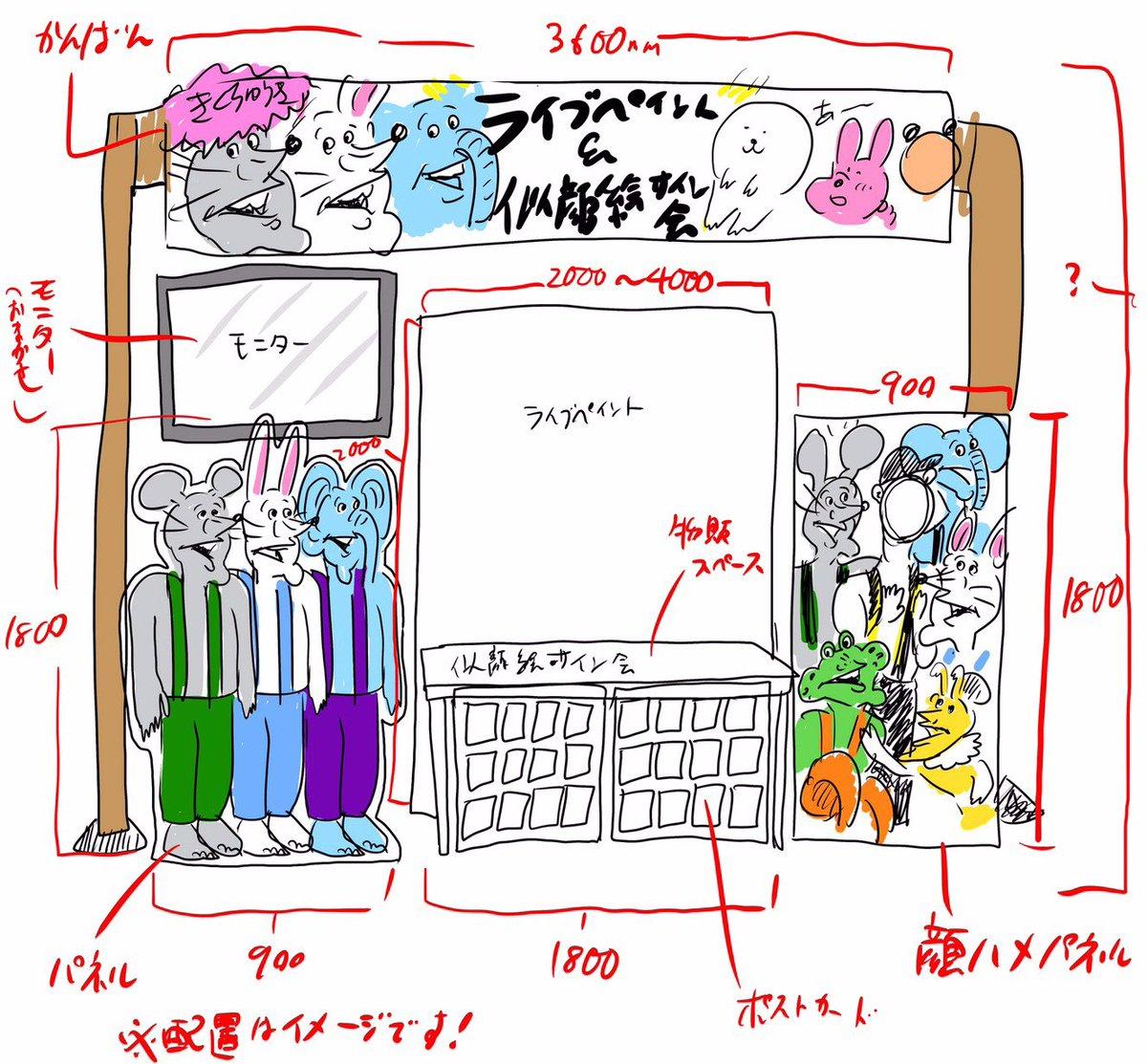 ジョイフル本田 瑞穂店 でライブペイントしてくださいとの依頼での打ち合わせでした。まだ実現出来てないですが、ライブペイントと物販と似顔絵会をする予定でした。設営イメージも担当さんといろいろ進めて、準備していたので、いつか出来たらいいなぁ〜と思っています。