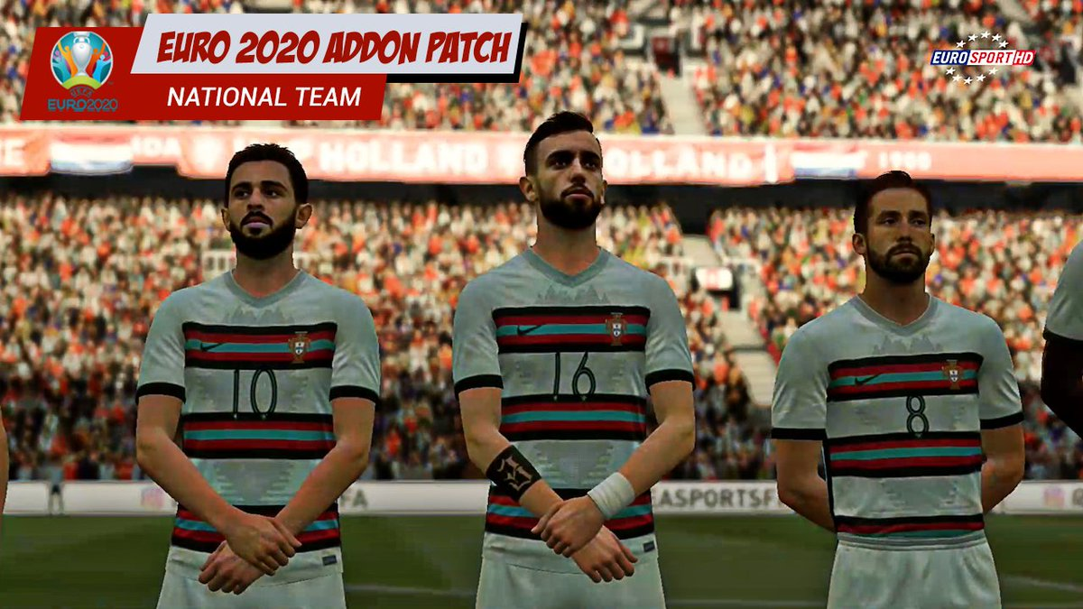 Preview 2   Addon Graphic Patch for EURO 2020  New Kits, New Faces, New Ball, New TV Watermark, New Scoreboard, Latest Squad by EA  @Credit  all Modder.pic.twitter.com/j2OxKHWla6