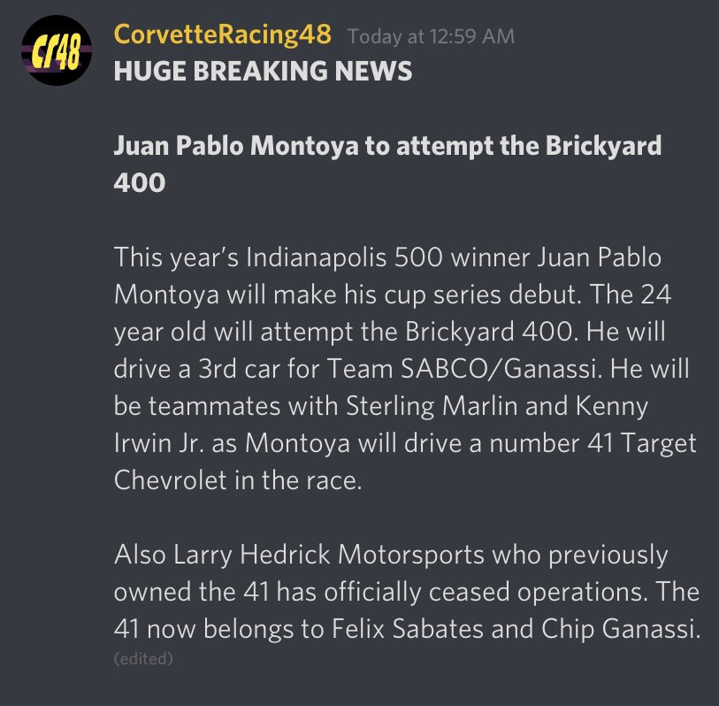 (2000 Mock Season News)  Huge News just broke out tonight! as Juan Pablo Montoya the 24 year old who won the Indy 500 will attempt the Brickyard 400.   Here are the details ⬇️