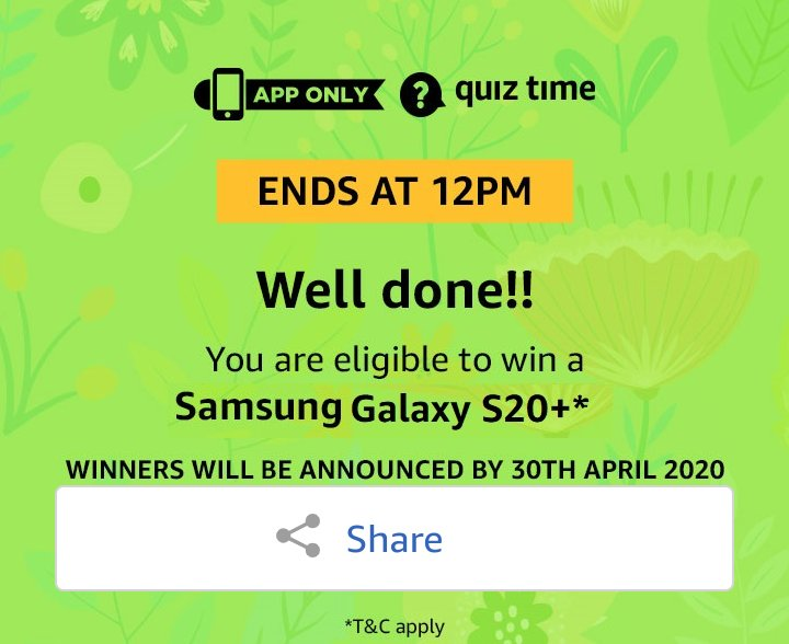 #QuizTimeMorningsWithAmazon   Join:---@AmazonNews_IN  @amazonIN  @amazon  @SamsungMobile  @SamsungIndia  @Samsung  @grateindiansale  @JeffBezospic.twitter.com/OmjBpVhkfX