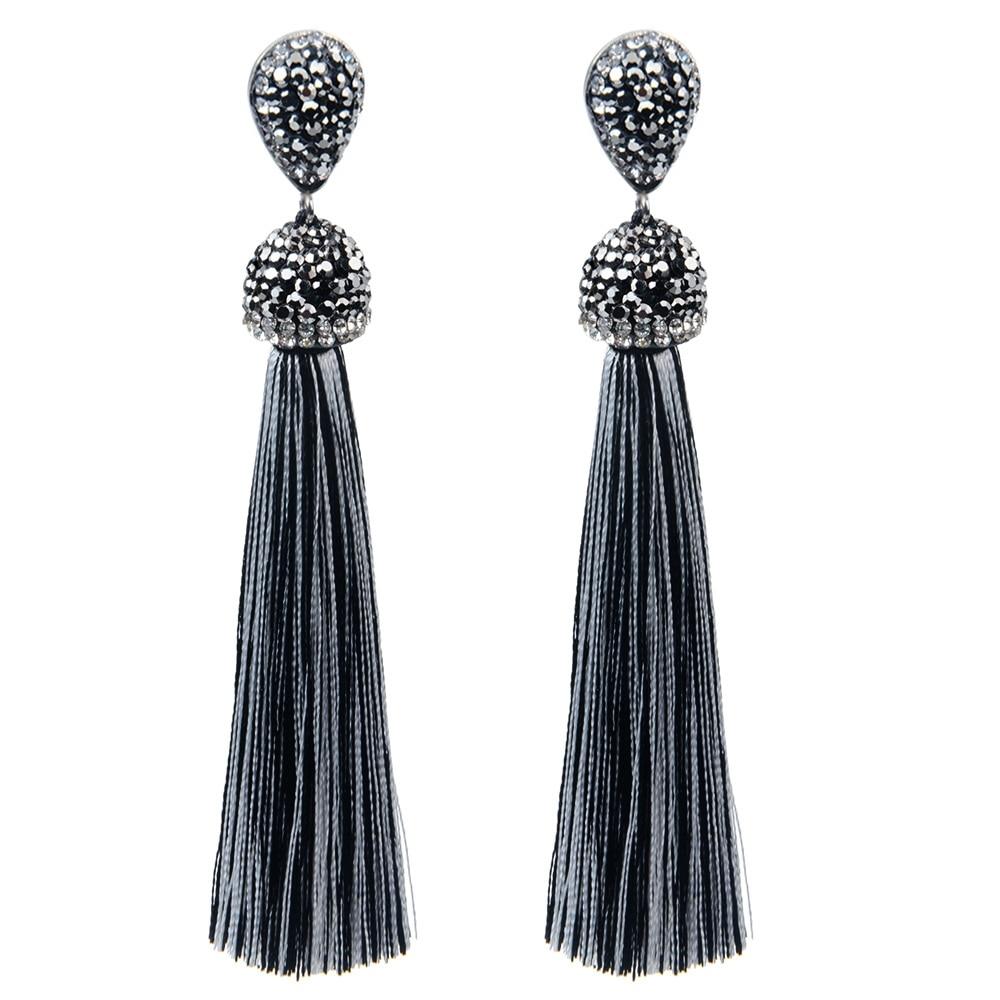 XIMENA - Long Crystal Tassel Earrings -    #jewelrybox #jewelrystore #jewelryjunkie #jewelrylovers #jewelrysale